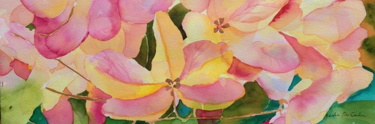 Original plein air watercolor created at Maui Academy of Performing Arts Garden Party 2014